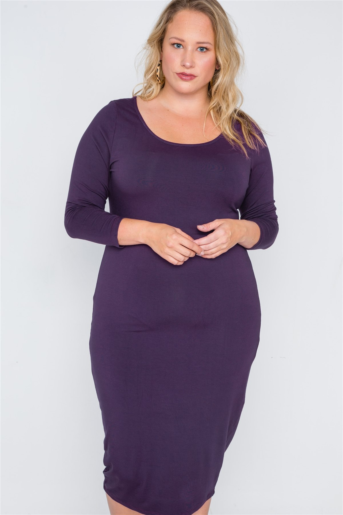Plus size basic bodycon midi dress-id.cc38658b