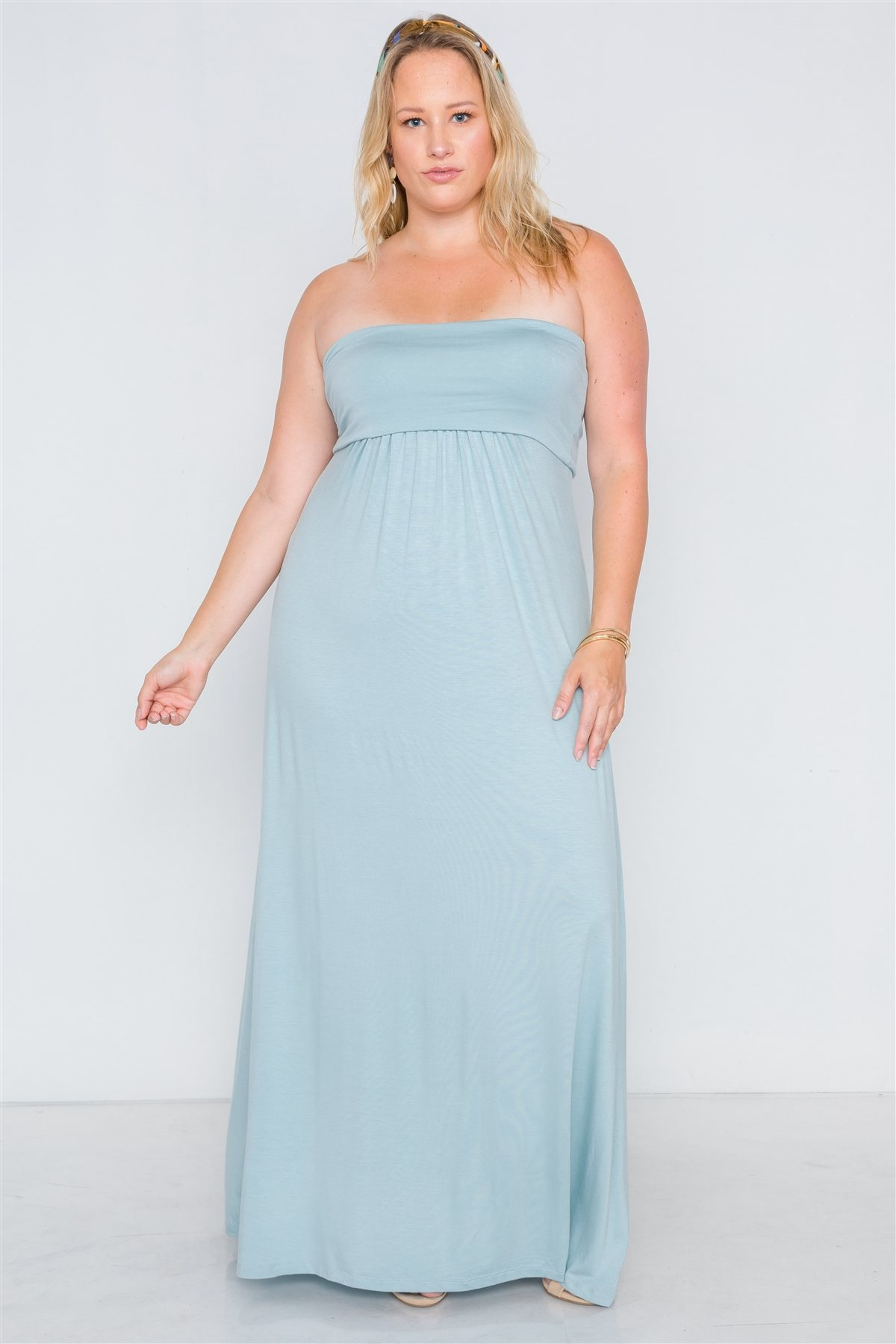 Plus size solid strapless maxi tube dress-id.cc38659