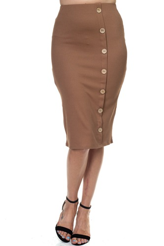 Coconut button down ribbed skirt-id.cc38679c