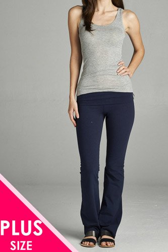 Full length leggings with flare bottom detail and fold over waist-id.cc38683c