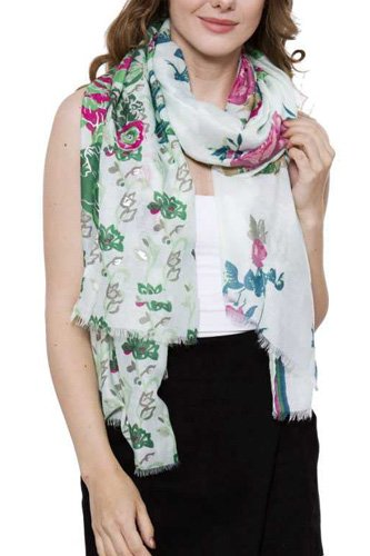 Soft bold floral print oblong scarf -id.cc38689