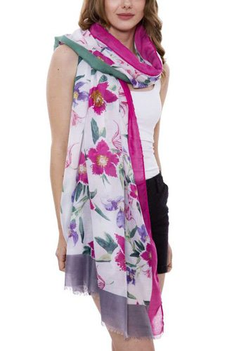 Soft floral print oblong scarf with short trim-id.cc38690