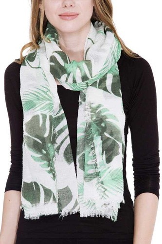Leaves print oblong scarf -id.cc38692