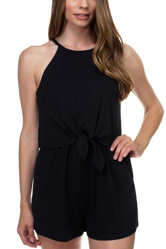 Sleeveless ribbed front tie romper-id.cc38701