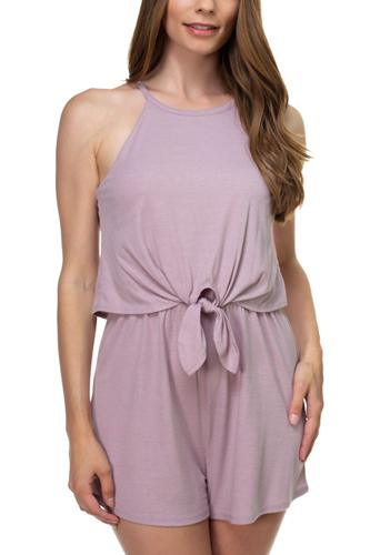 Sleeveless ribbed front tie romper-id.cc38701a