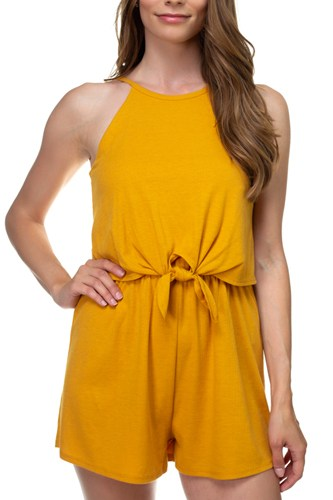 Sleeveless ribbed front tie romper-id.cc38701b