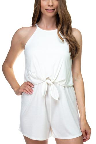 Sleeveless ribbed front tie romper-id.cc38701c