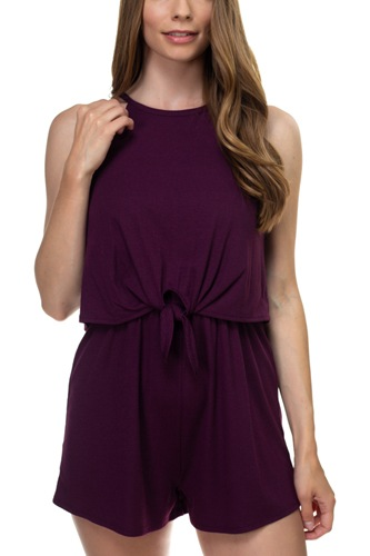 Sleeveless ribbed front tie romper-id.cc38701d