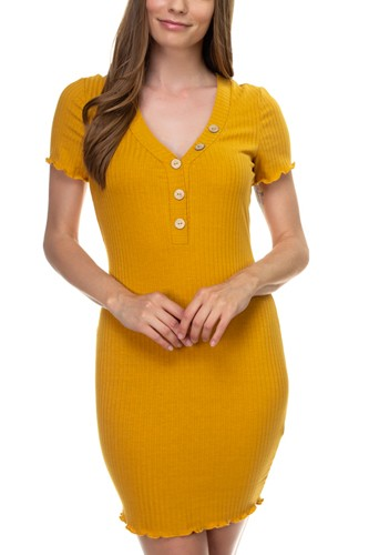 Ribbed button trim mini dress-id.cc38715b