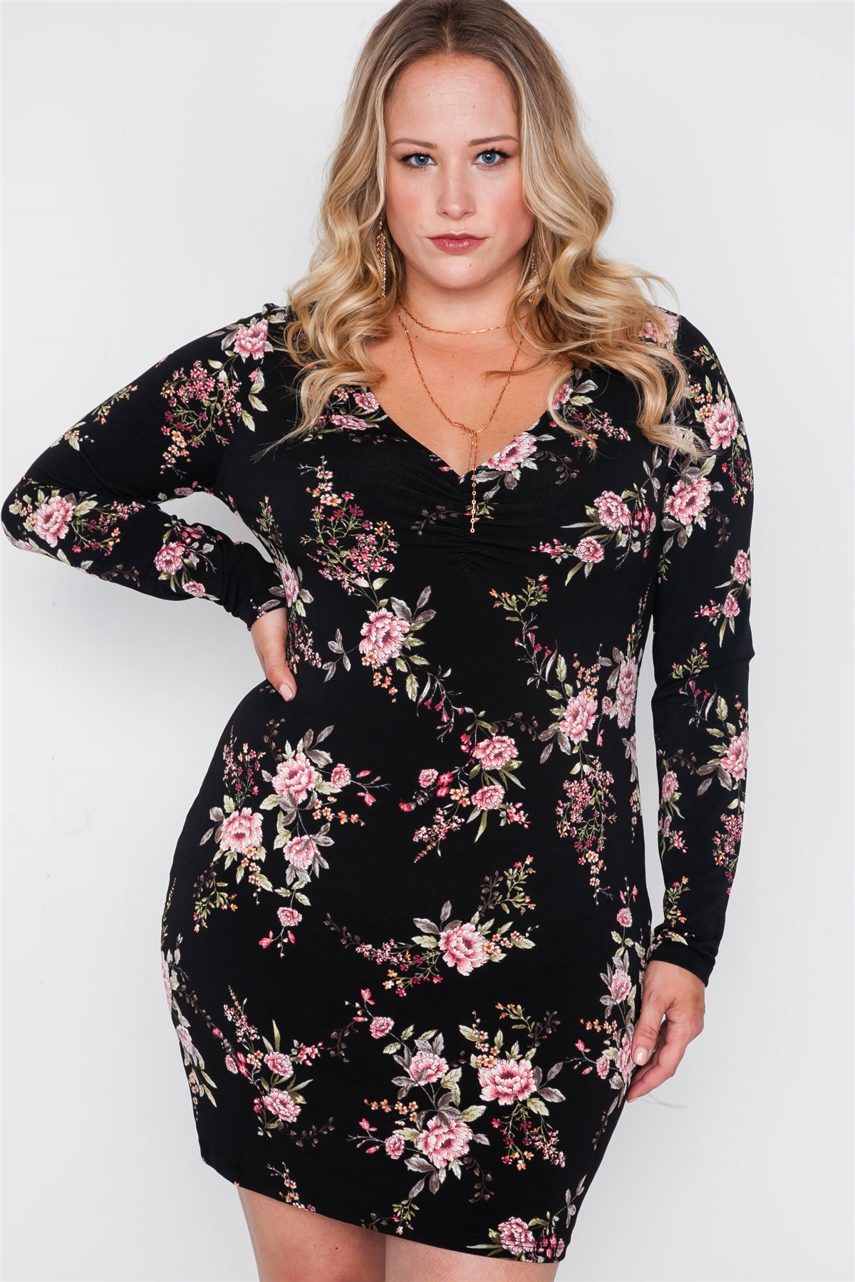 Plus size black floral v-neck long sleeve mini dress-id.cc38726