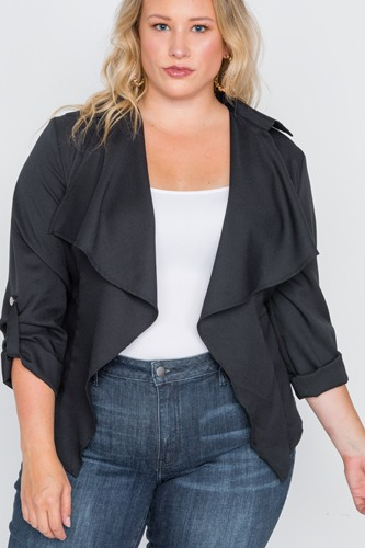 Plus size draped open front light jacket-id.cc38717