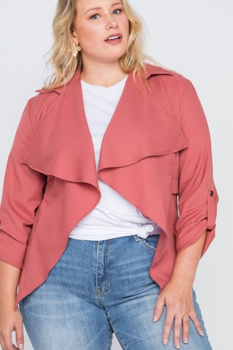 Plus size draped open front light jacket-id.cc38717a