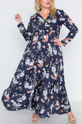 Plus size  floral print button down maxi dress-id.cc38718a