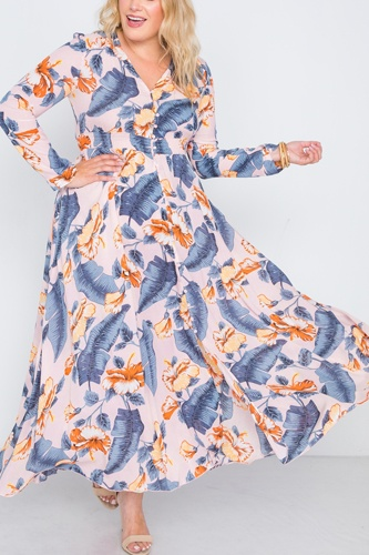 Plus size  floral print button down maxi dress-id.cc38718c