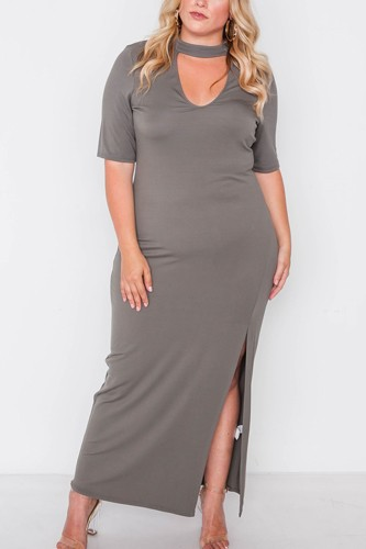 Plus size site slit mock neck maxi dress-id.cc38722b