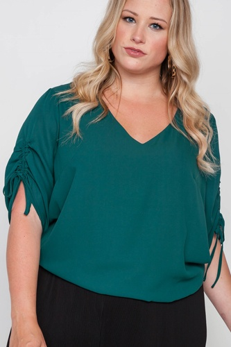 Plus size chiffon v-neck solid top-id.cc38724a