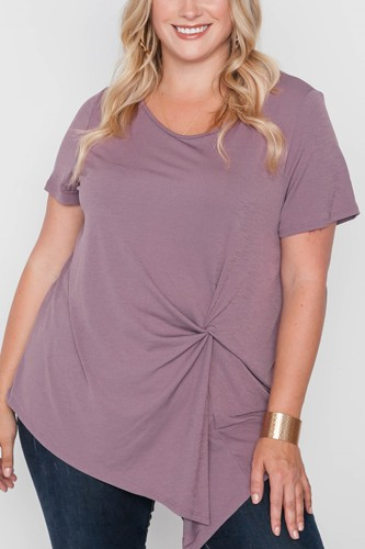 Plus size short sleeve twist front top-id.cc38725a