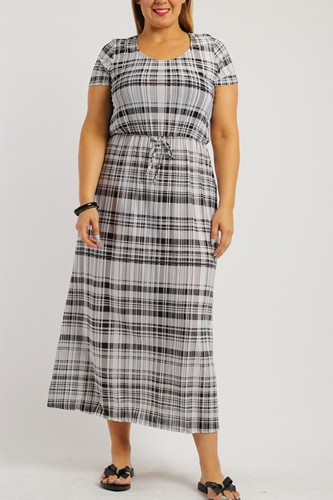 Plaid, ankle length maxi dress-id.cc38727a