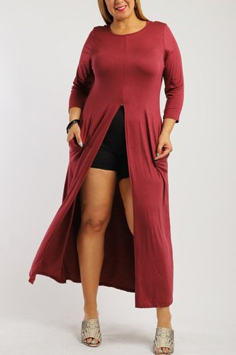 Solid long body tunic top-id.cc38728