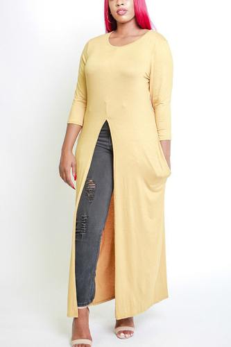 Solid long body tunic top-id.cc38728e