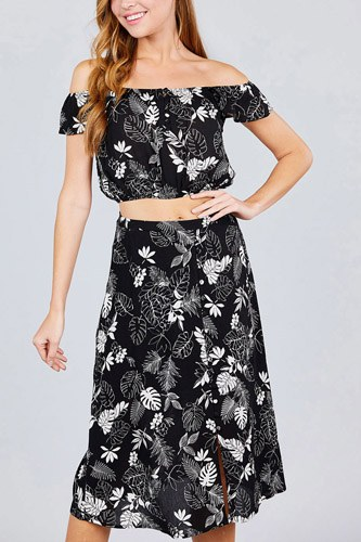 Tulip sleeve off the shoulder button down crop top and button down midi skirt set-id.cc38743