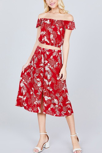 Tulip sleeve off the shoulder button down crop top and button down midi skirt set-id.cc38743a