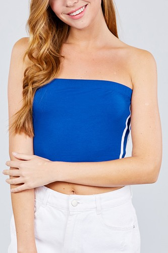 Back open w/cross strap contrast side stripe tue top-id.cc38746