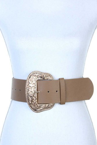 Filigree wide metal buckle pu leather belt-id.cc38750