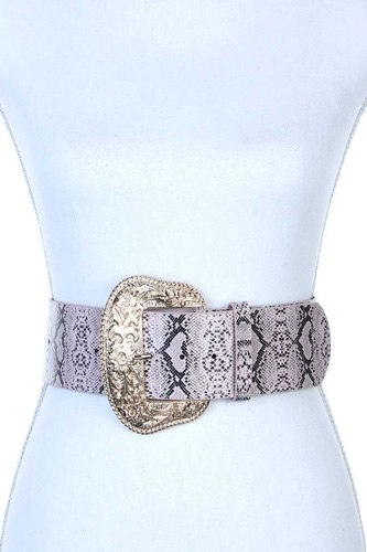Filigree wide metal buckle animal print pattern pu leather belt-id.cc38751