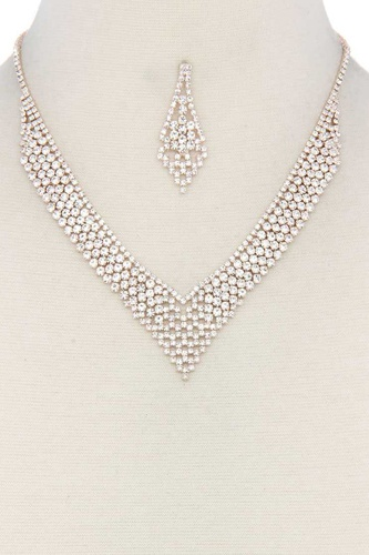 V shape rhinestone necklace-id.cc38761