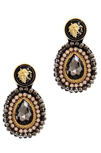 Modern tear drop rhinestone and bead earring-id.cc38769