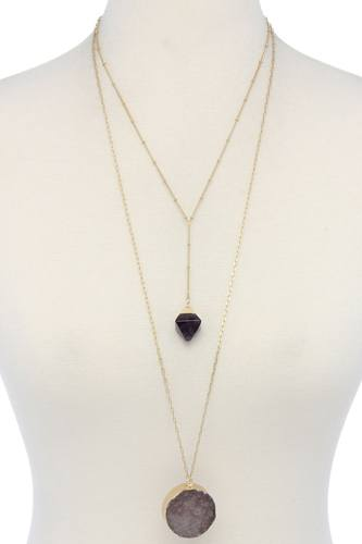Druzy stone layered y shape necklace-id.cc38794
