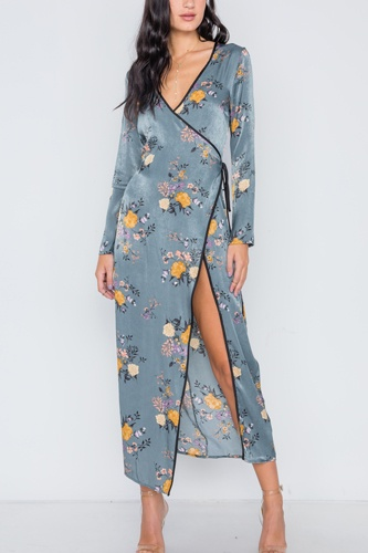 Storm blue side slit floral wrap maxi dress-id.cc38797