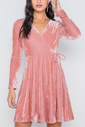 Blush velvet fit & flare long sleeve mini dress-id.cc38798