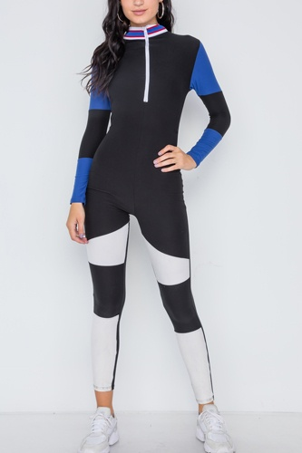 Blue black color block long sleeve zip-up jumpsuit-id.cc38799