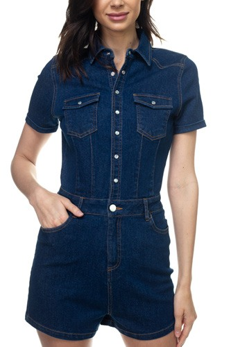 Denim short sleeve romper-id.cc38814