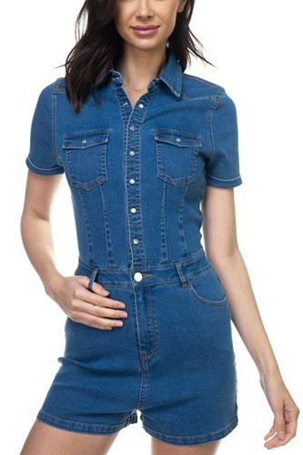 Denim short sleeve romper-id.cc38814a