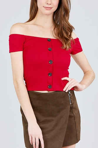 Short sleeve off the shoulder button down rayon spandex rib knit top-id.cc38818d