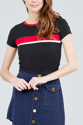 Short sleeve crew neck color block knit top-id.cc38820