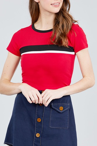 Short sleeve crew neck color block knit top-id.cc38820a
