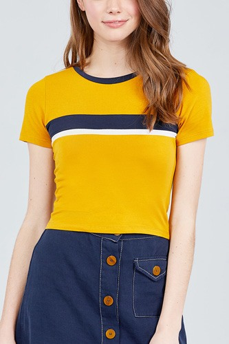 Short sleeve crew neck color block knit top-id.cc38820b