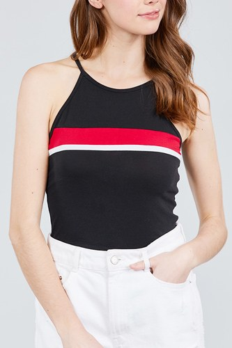Halter neck color block knit top-id.cc38821