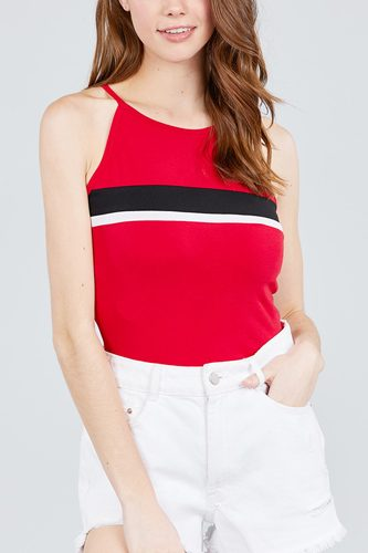 Halter neck color block knit top-id.cc38821a