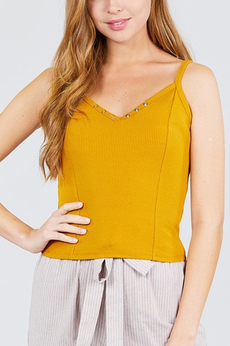 V-neck w/snap button detail cami rayon spandex heavy rib knit top-id.cc38832a