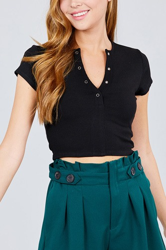 Short sleeve open neck w/snap button detail rayon spandex heavy rib crop knit top-id.cc38833c