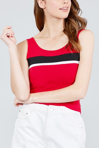 Double scoop neck color block knit tank top-id.cc38836a