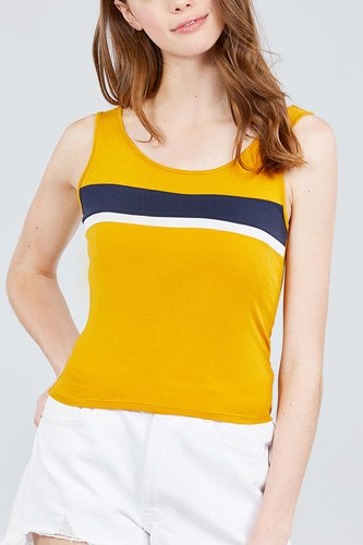 Double scoop neck color block knit tank top-id.cc38836b