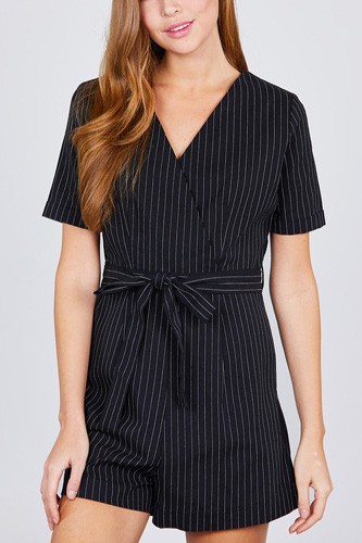 Short sleeve v-neck surplice w/waist belt stripe romper-id.cc38845a