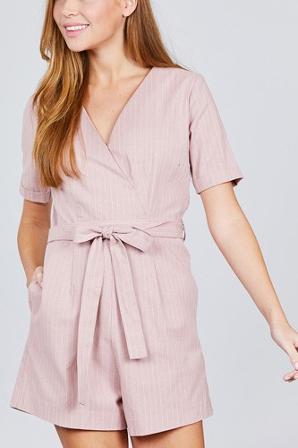 Short sleeve v-neck surplice w/waist belt stripe romper-id.cc38845b