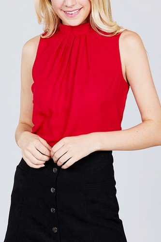 Sleeveless mock neck back button woven top-id.cc38850b